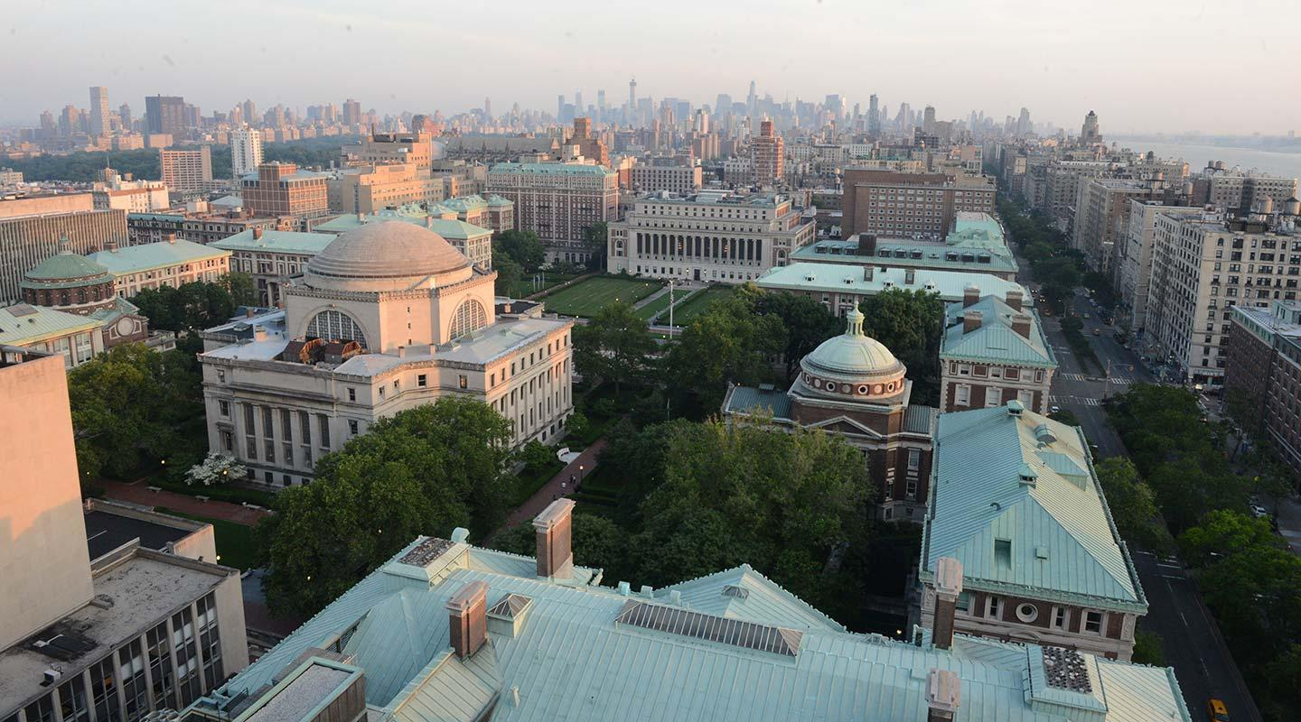 An aerial view of Morningside campus looking southward toward Midtown Manhattan