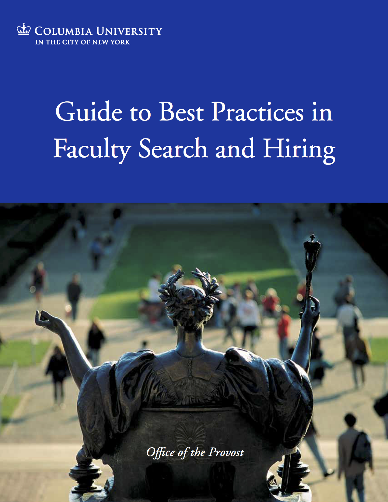 Cover of ODF, white text on dark blue background, reading: Guide to Best Practices in Faculty Search and Hiring