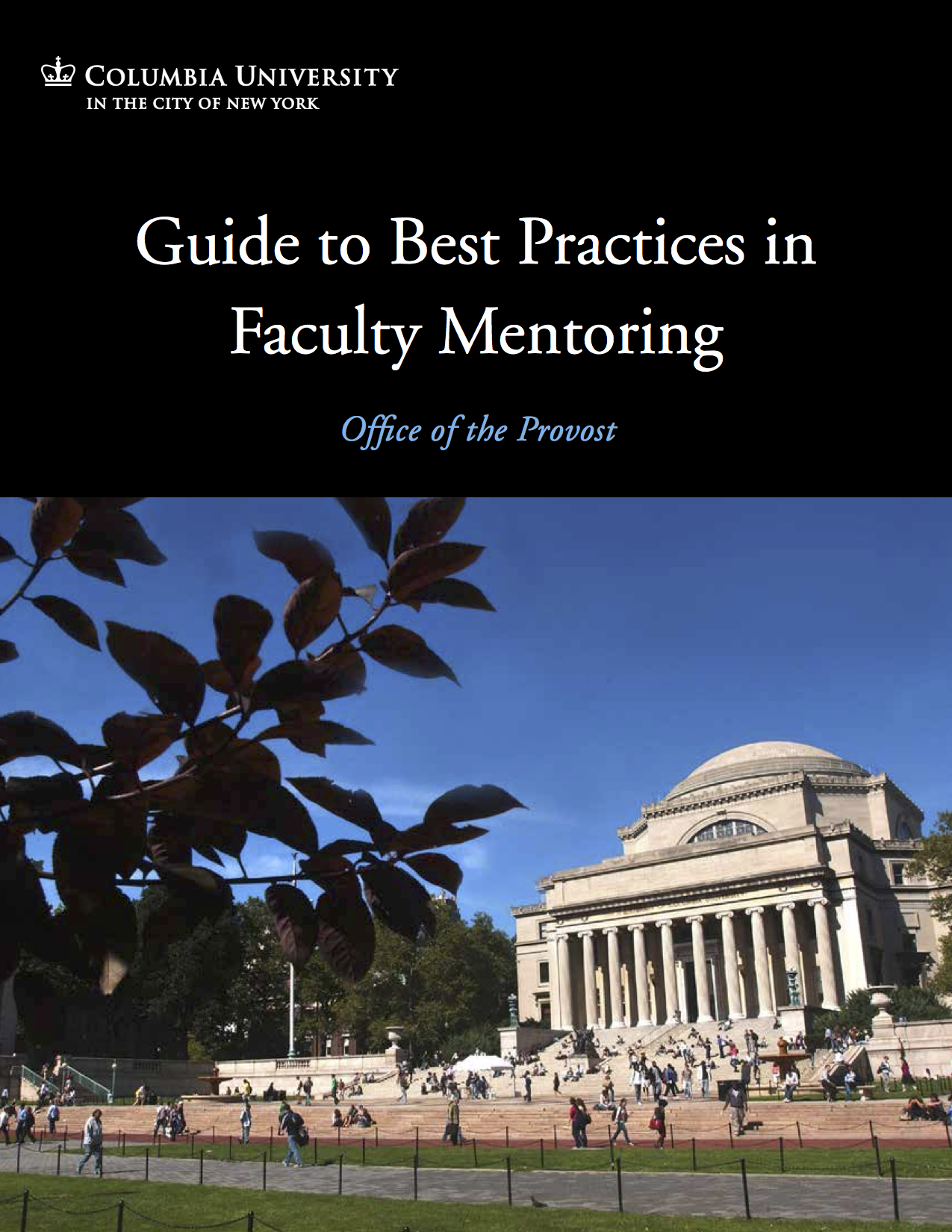 Cover of ODF, white text on black background, reading: Guide to Best Practices in Faculty Mentoring