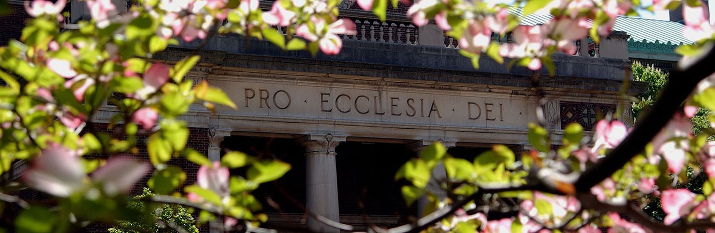 Cherry blossoms frame the columns of a building with pro ecclesia dei written on them