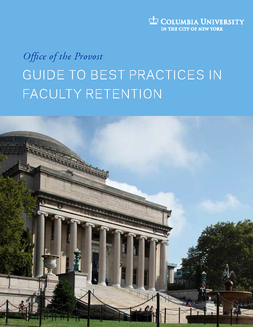 Cover of ODF, white text on light blue background, reading: Guide to Best Practices in Faculty Retention