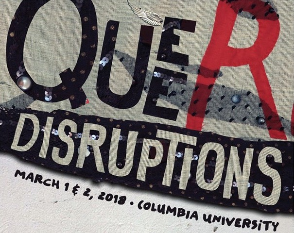 Queer Disruptions Logo in tan, red and black