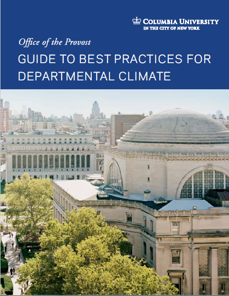 Cover of guide, white text on dark blue background, reading: Guide to Best Practices for Departmental Climate