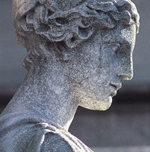 A female's head in granite stone