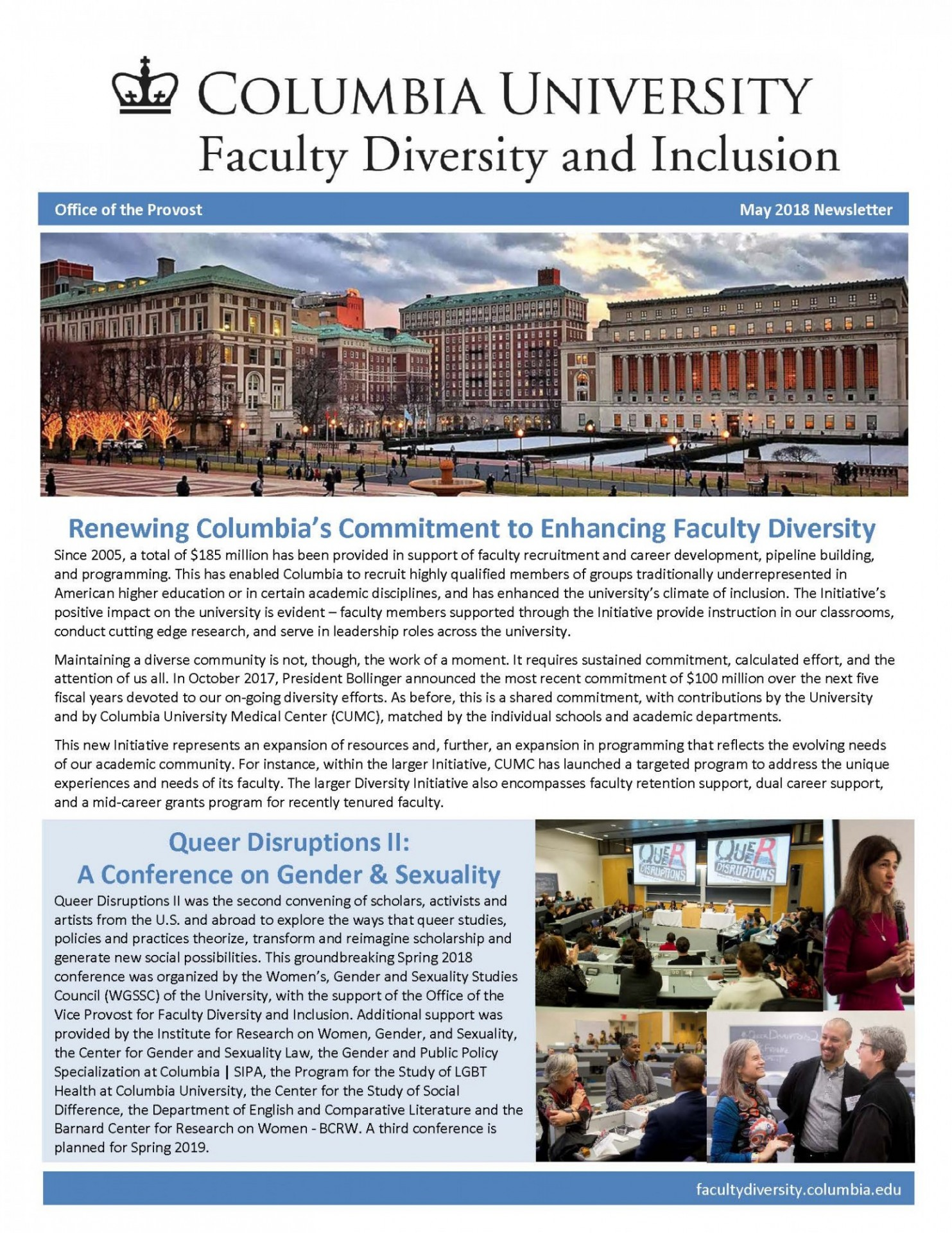 Faculty Diversity Newsletter May 2018